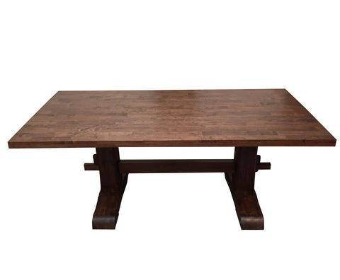 Red Mahogany Trestle Farmhouse Table