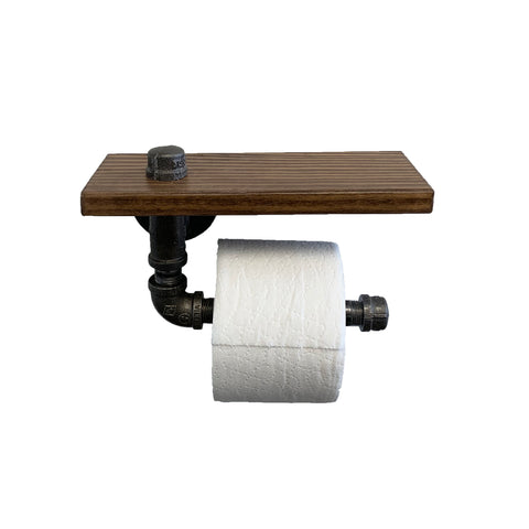 Industrial Toilet Paper Holder with Rustic Wooden Shelf and Cast Iron Pipe Hardware for Bathroom, Washroom