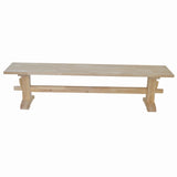 Unfinished Trestle Bench / Pedestal bench Farmhouse Bench, wood bench St. Louis