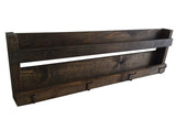 Rustic Wall organizer Shelf with hooks