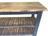 Rustic Kitchen Island Dark Walnut and Black