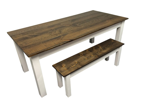 Dark Walnut White Farm Table Harvest Farmhouse Rustic