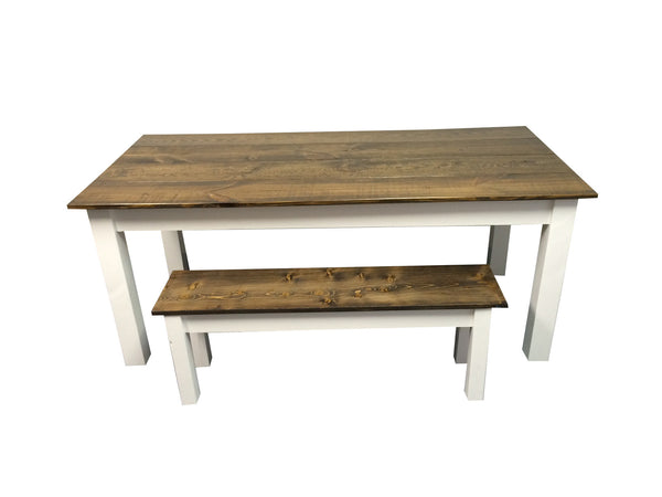 Dark Walnut & White Farm Table Harvest Table, Farmhouse table Rustic Table