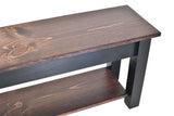 Red Mahogany and Black Bench with Shelf storage bench shoe shelf rack farmhouse rustic country