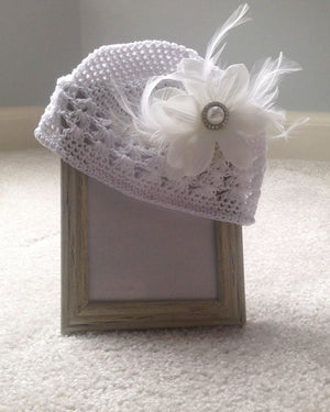 Hat- White Feathered Flower Clip w/ White Crotchet Headband