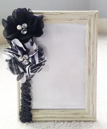 Headband- Black and white zebra flowers w/ black sequin headband