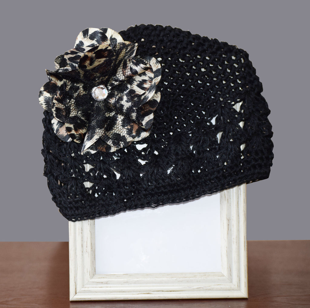 Hat-Black Crotchet Hat with Leopard Flower