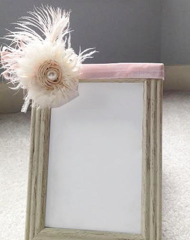 Cream Feathered Flower with Pearl Center w/ Pink Elastic Headband