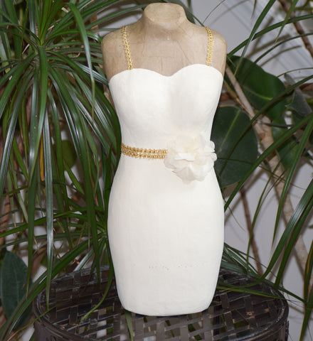 Cream Fitted Dress with Gold Trim and Cream flower