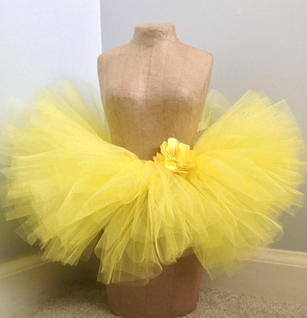 Pale Sparkle Yellow Tutu w/ Yellow Satin Flower