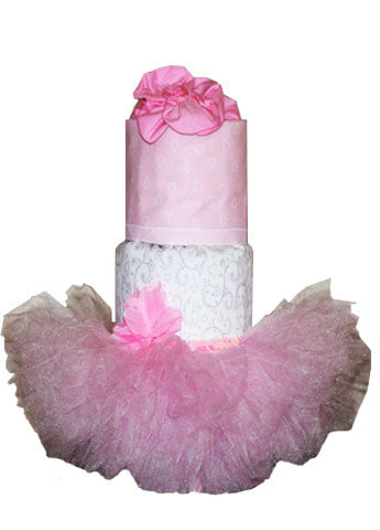 Pink, White, and Grey Fondant Diaper Cake w/ Soft Pink Tutu