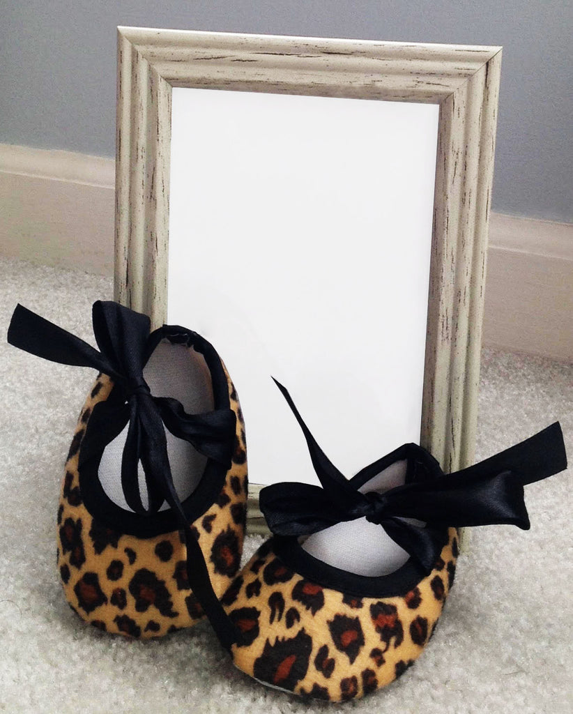 Shoes- Leopard Ribbon Tie Crib Shoes