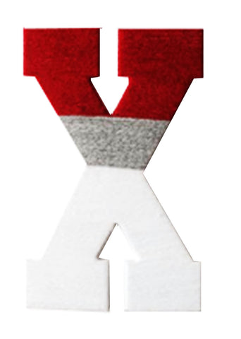 Red,Grey & White Yarn Letter