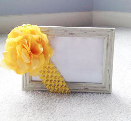 Yellow Satin Flower Clip w/ Yellow Crotchet Headband