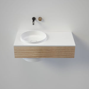 Caroma Elvire 900 Wall Basin & Vanity with Drawer | Gloss White & Oak Timber