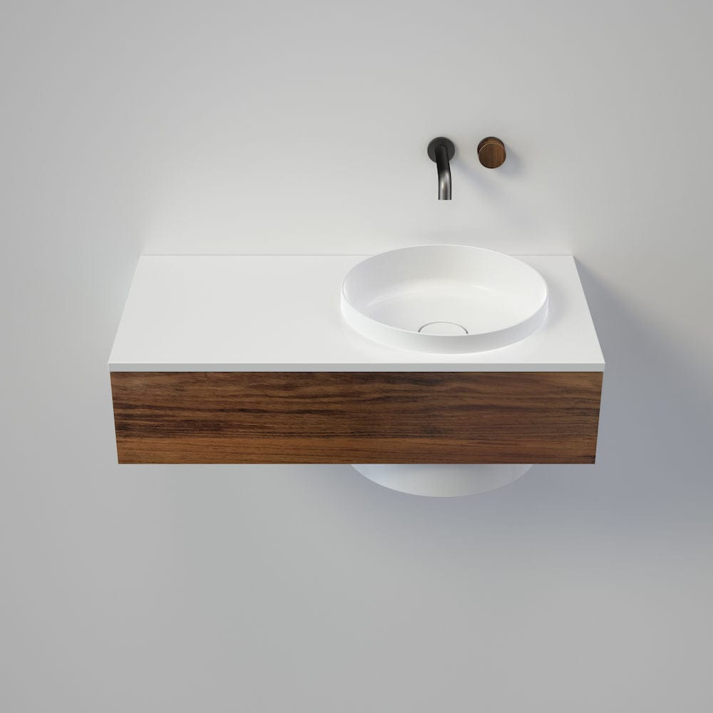 Caroma Elvire 900 Wall Basin & Vanity with Drawer | Gloss White & Blackwood Timber