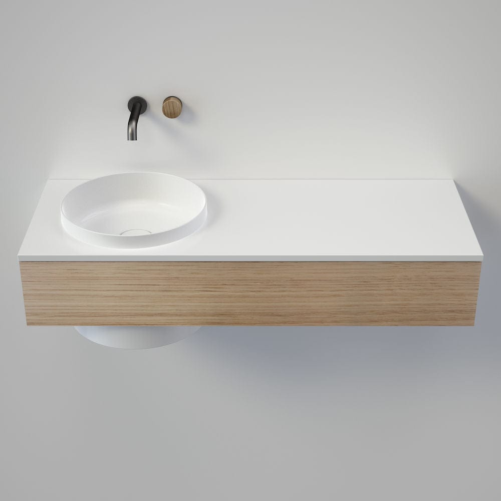 Caroma Elvire 1200 Wall Basin & Vanity with Drawer | Gloss White & Oak Timber