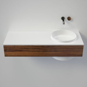 Caroma Elvire 1200 Wall Basin & Vanity with Drawer | Gloss White & Blackwood Timber