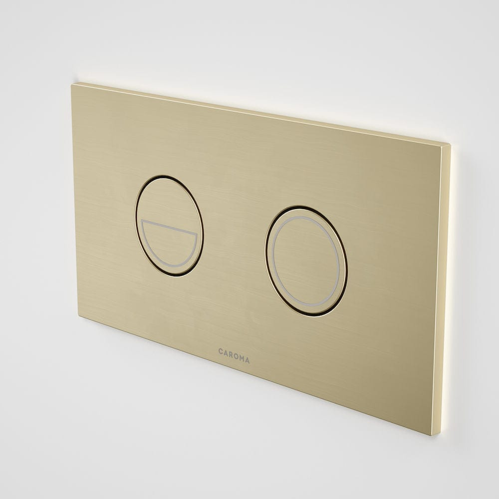 Caroma Invisi Series II Round Metal Dual Flush Plate | Brushed Brass