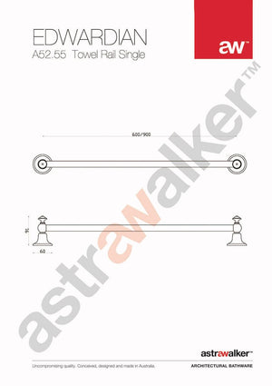 Astra Walker Edwardian Single Towel Rail 600mm