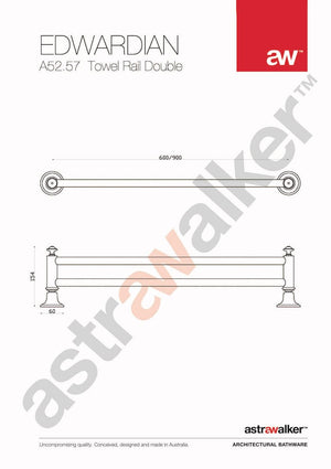 Astra Walker Edwardian Double Towel Rail 600mm