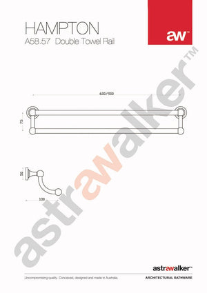 Astra Walker Hampton Double Towel Rail 900mm