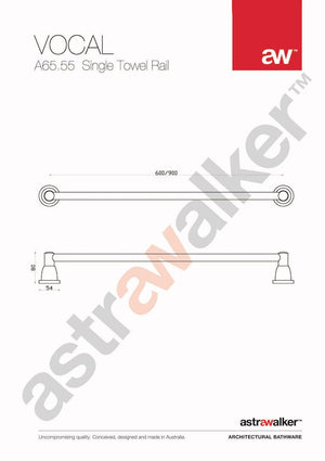 Astra Walker Vocal Single Towel Rail 600mm