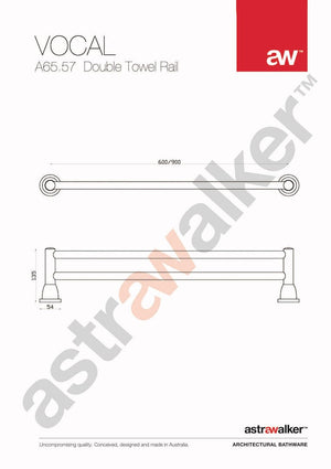 Astra Walker Vocal Double Towel Rail 900mm