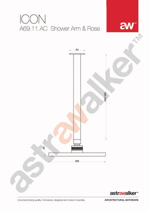 Astra Walker Icon Shower Head and Ceiling Arm