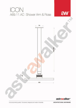 Astra Walker Icon Shower Arm & Rose Ceiling mounted