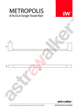 Astra Walker Metropolis Towel Rail 600mm