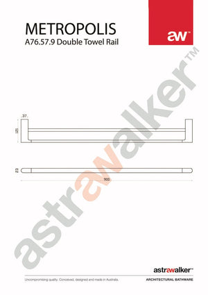 Astra Walker Metropolis Double Towel Rail fixed 900mm