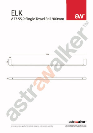 Astra Walker Elk Single Towel Rail 900mm
