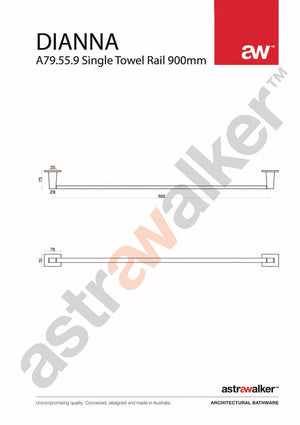 Astra Walker Dianna Single Towel Rail 900mm
