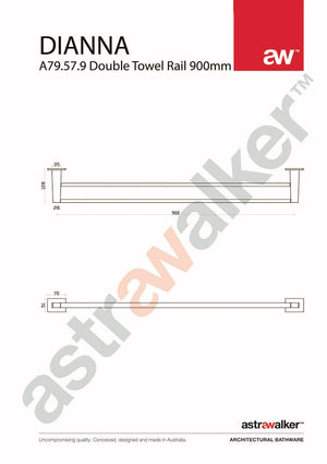 Astra Walker Dianna Double Towel Rail 900mm