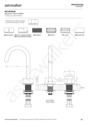 Astra Walker Assemble Basin Set with Mixer & 110mm Swivel Spout
