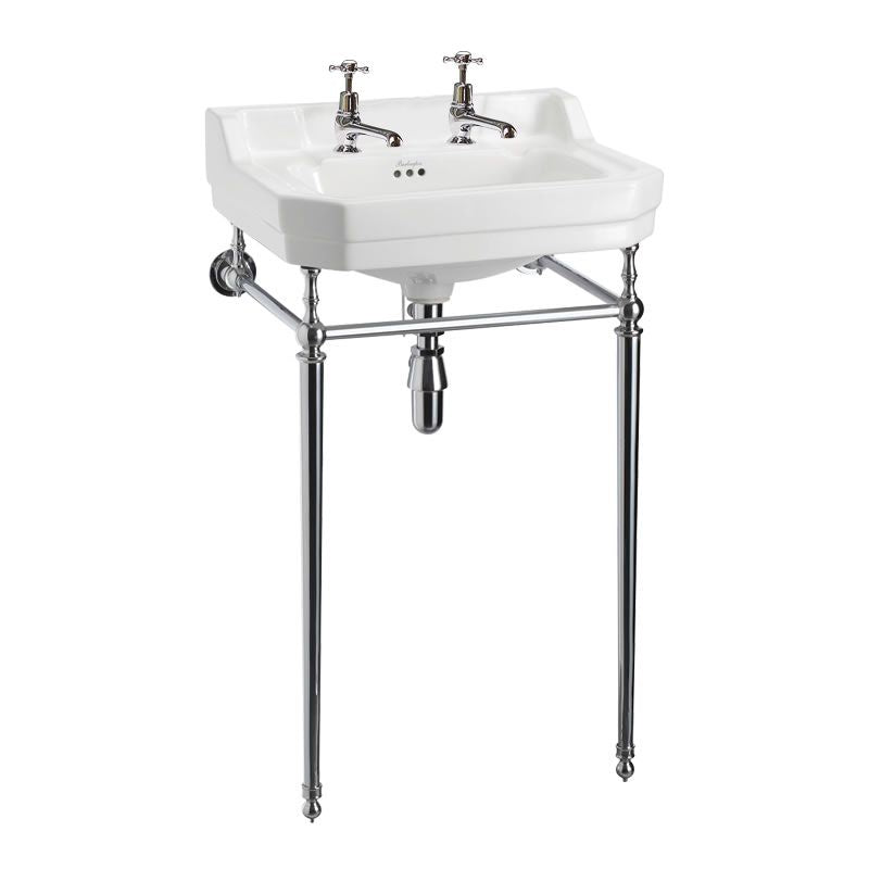 Burlington Edwardian Rectangle 560mm Basin with Chrome Wash Stand