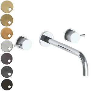 The Watermark Collection Titanium Wall Mounted 3 Hole Basin Set with 296mm Spout