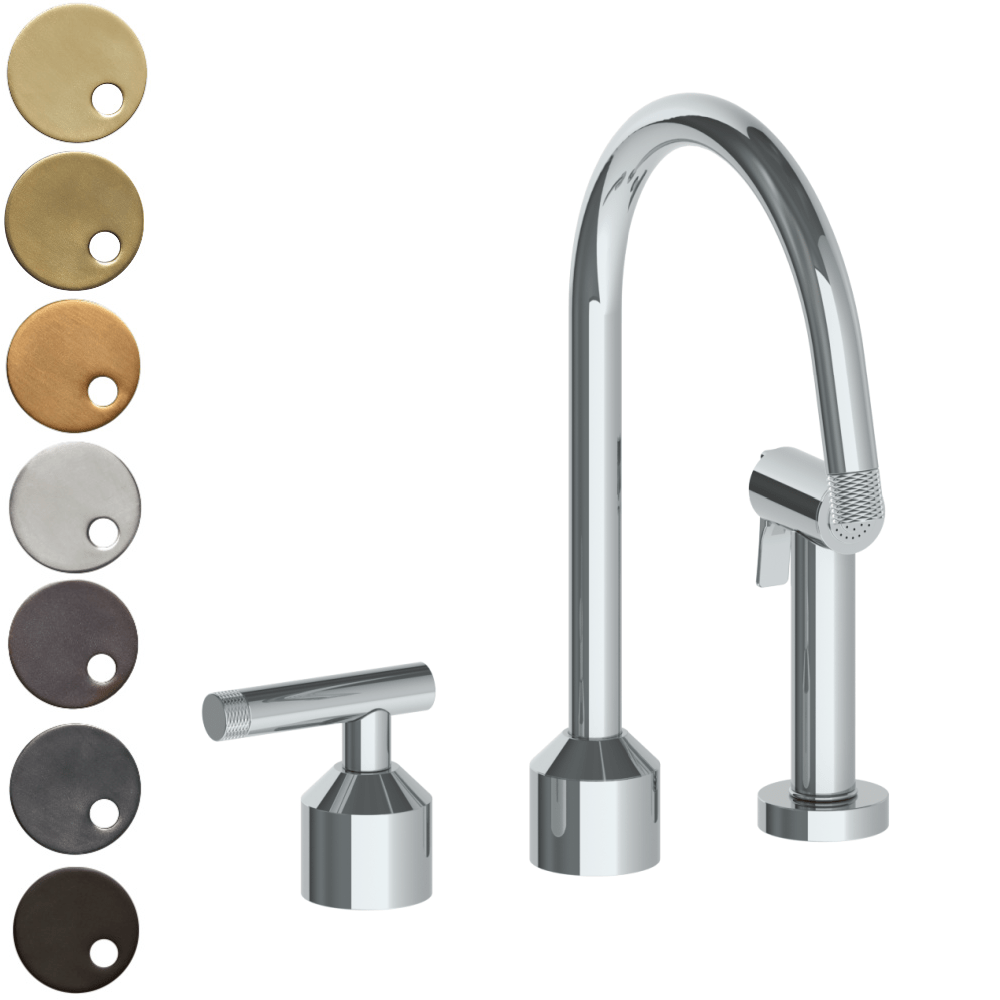 The Watermark Collection Urbane 2 Hole Kitchen Set with Swan Spout & Separate Pull Out Rinse Spray - Astor Handle