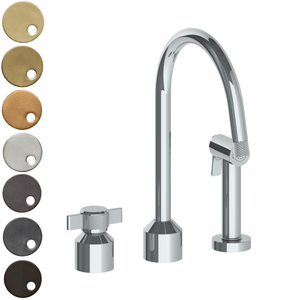 The Watermark Collection Urbane 2 Hole Kitchen Set with Swan Spout & Separate Pull Out Rinse Spray - Cooper Handle