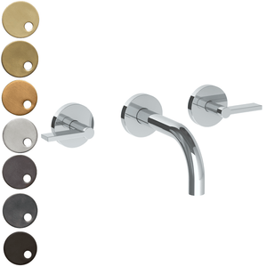 The Watermark Collection London Wall Mounted 3 Hole Basin Set with 142mm Spout - Lever Handle