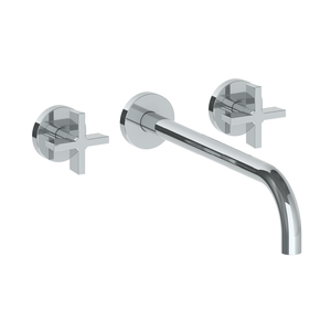 The Watermark Collection London Wall Mounted 3 Hole Basin Set with 296mm Spout - Cross Handle
