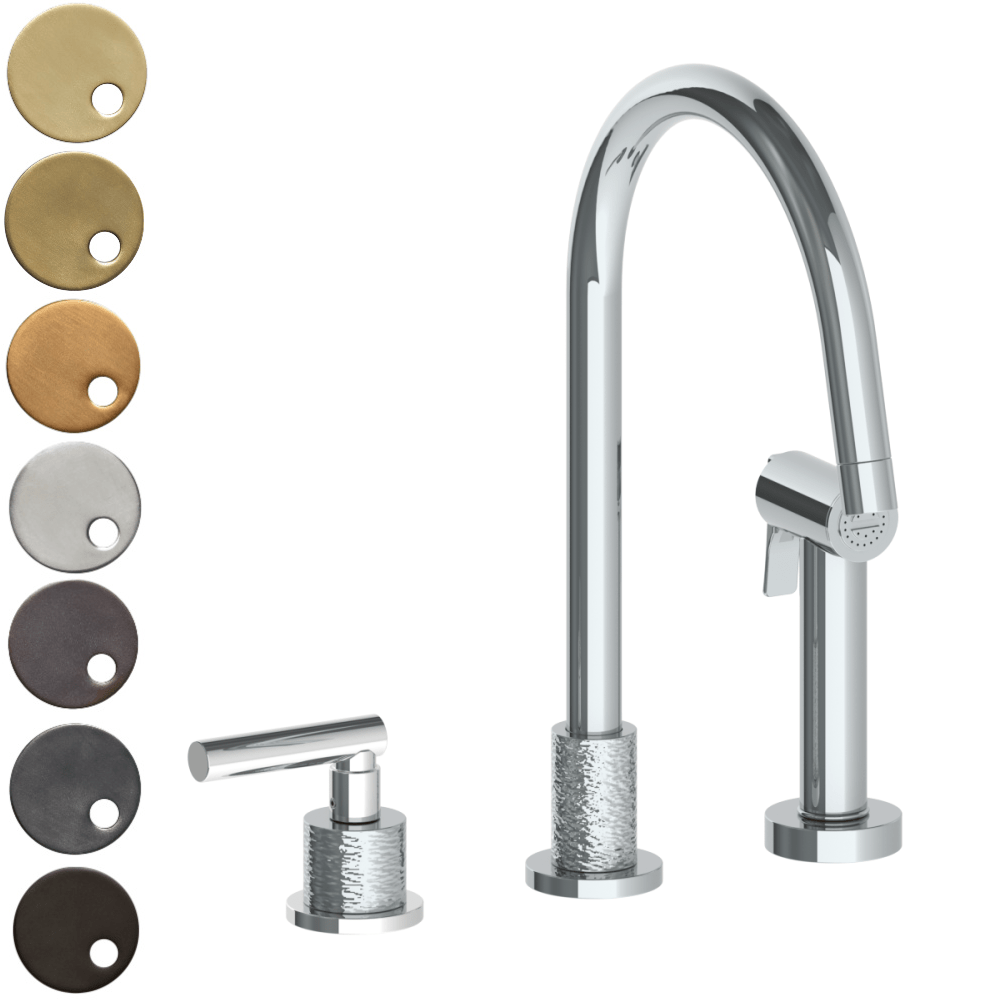 The Watermark Collection Sense 2 Hole Kitchen Set with Seperate Pull Out Rinse Spray - Lever Handle