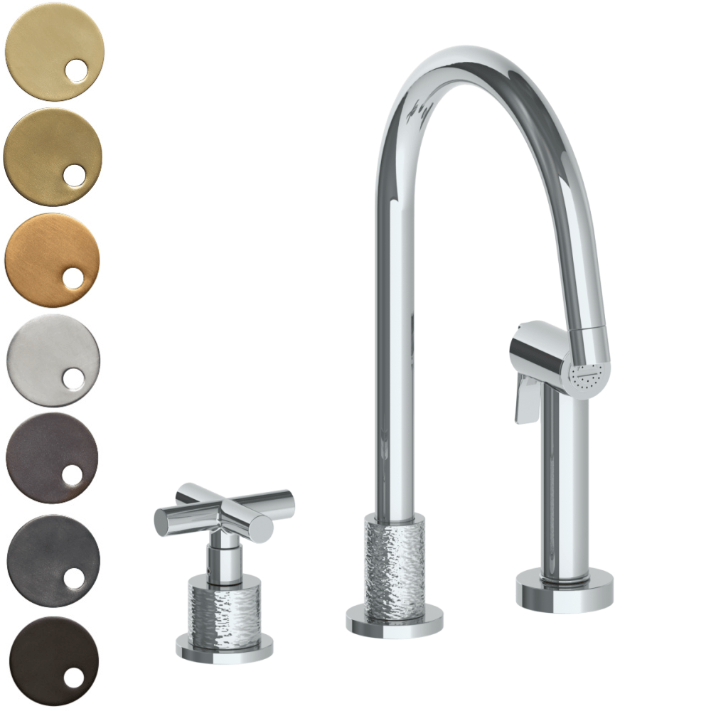 The Watermark Collection Sense 2 Hole Kitchen Set with Seperate Pull Out Rinse Spray - Cross Handle