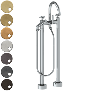 The Watermark Collection Highline Freestanding Bath Set with Slimline Hand Shower - Cross Handle