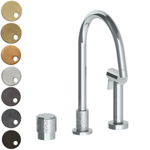 The Watermark Collection Sense 2 Hole Kitchen Set with Seperate Pull Out Rinse Spray - Dial Handle