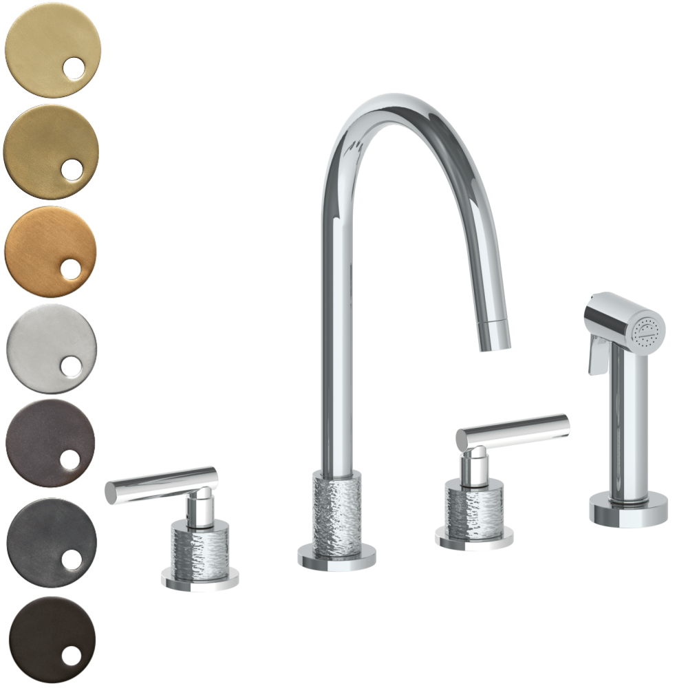 The Watermark Collection Sense 3 Hole Kitchen Set with Seperate Pull Out Rinse Spray - Lever Handle