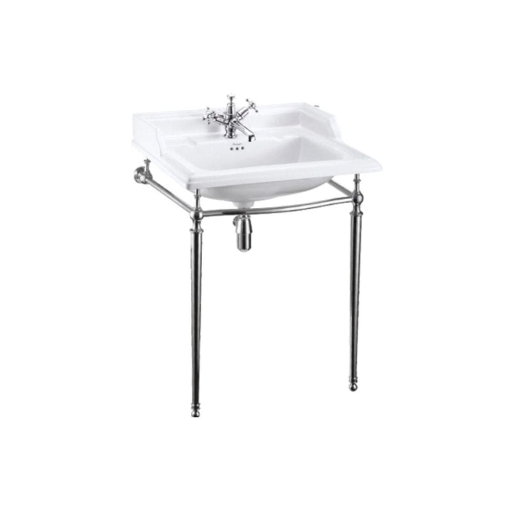Burlington Classic Rectangle 650mm Basin with Chrome Wash Stand