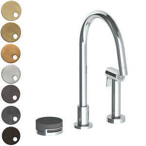 The Watermark Collection Elements 2 Hole Kitchen Set with Seperate Pull Out Rinse Spray - Bridge Insert