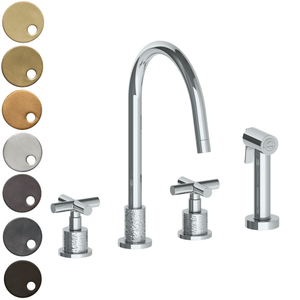 The Watermark Collection Sense 3 Hole Kitchen Set with Seperate Pull Out Rinse Spray - Cross Handle